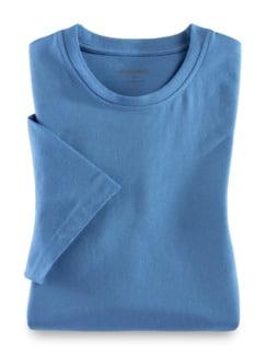 T-Shirt Rundhalsausschnitt Mittelblau Detail 1
