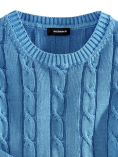 Premium SUPIMA Pullover Azurblau Detail 3