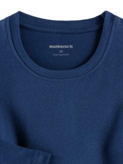 Langarm-Shirt Rundhalsausschnitt Blau Detail 3