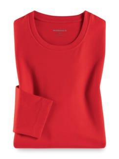 Langarm-Shirt Rundhalsausschnitt Rot Detail 1