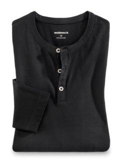 Henley-Shirt Schwarz Detail 1