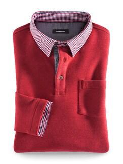 Hemd-Pullover 2 in 1 Rot Detail 1