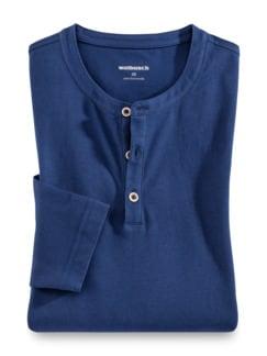 Henley-Shirt Blau Detail 1