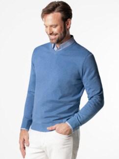 V-Pullover Soft Cotton Azurblau Detail 2