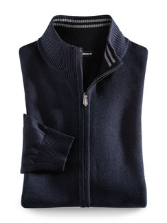 Zip-Jacke Cashmere Touch Navy Detail 1