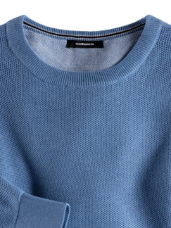 Struktur-Pullover Soft Cotton Azurblau Detail 3