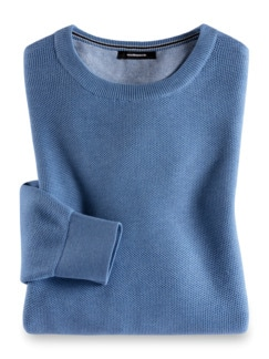 Struktur-Pullover Soft Cotton Azurblau Detail 1