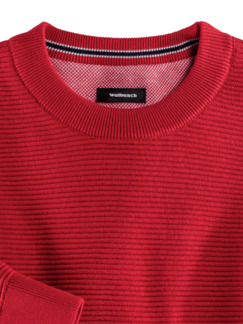 Rundhals-Pullover Ottoman Rot Detail 3