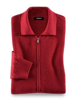 Premium Merino Strickjacke Rot Detail 1