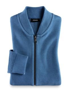 Zip-Jacke Ottoman Mittelblau Detail 1