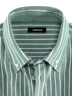 Komfort-Shirt Extraglatt Grün gestreift Detail 3