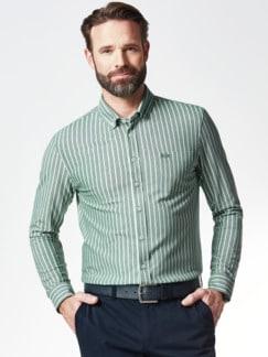 Komfort-Shirt Extraglatt Grün gestreift Detail 2