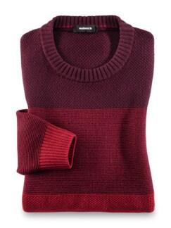 Streifen Pullover Cashmere-Mix Barolo/Rot Detail 1