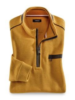 Wohlfühl-Pullover French-Rib Gelb Detail 1