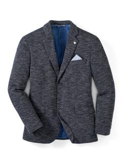 Jersey-Sakko Slubyarn Blau Meliert Detail 1