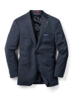 Naturstretch-Anzug-Sakko Blau/Grau Karo Detail 1