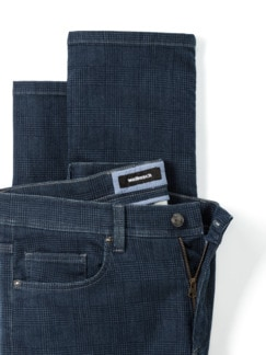 Jogger-Jeans Five Pocket Glencheck Marine Detail 4