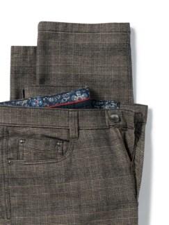 Five-Pocket Soft Flanell Glencheck Beige/Braun Detail 4