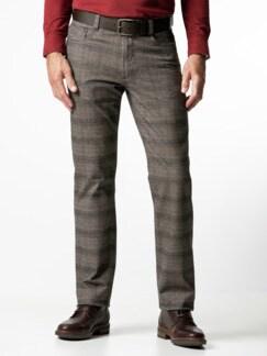 Five-Pocket Soft Flanell Glencheck Beige/Braun Detail 2