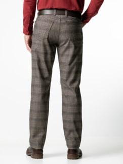 Five-Pocket Soft Flanell Glencheck Beige/Braun Detail 3