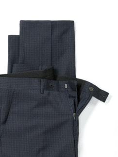 Naturstretch-Anzug-Hose Blau/Grau Karo Detail 4