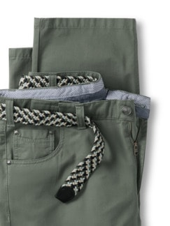 Extraglatt-Stretchbund Five Pocket Salbei Detail 4