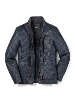 Steppleder Jacke Marine Detail 1