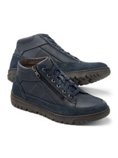Thermo Kalbleder-Sneaker High Top Blau Detail 1