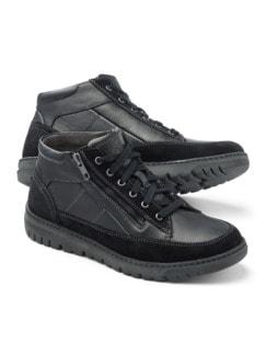 Thermo Kalbleder-Sneaker High Top Schwarz Detail 1