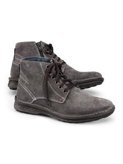 Reißverschluss-Velours-Stiefel Grau Detail 1