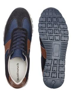 Materialmix-Sneaker Blau Detail 2