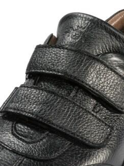 Hirschleder-Doppelklett-Sneaker Schwarz Detail 4