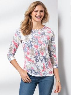 Shirt Aquarellblume Offwhite gemustert Detail 1