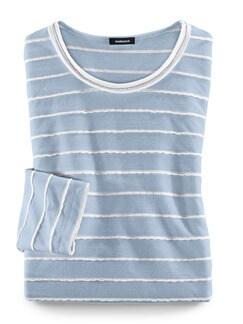 Shirt Strukturstreifen Hellblau/Offwhite Detail 2