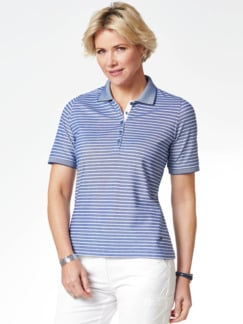 Extraglatt-Polo Pima Cotton Royalblau gestr Detail 1