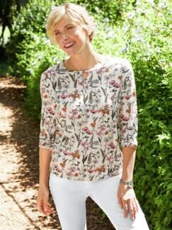 Blouson-Shirt Blumenwiese Weiß/Orange/Pink Detail 2
