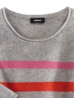 Cashmere Leicht-Pullover Multiringel grau gestreift Detail 4