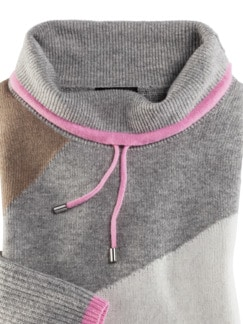 Pullover Intarsia Soft and Easy Pink/Beige Detail 3