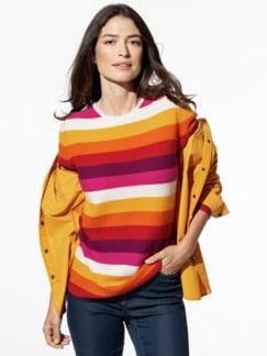 Cashmere Leicht-Pullover Safran/Orange gestreift Detail 1