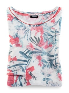 Shirt Aquarellblume Offwhite gem. Detail 3