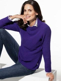 Cashmino Stehkragen-Pullover Violett Detail 1
