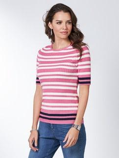 Strickshirt Pima-Cotton Streifen Pink/Blau Detail 1
