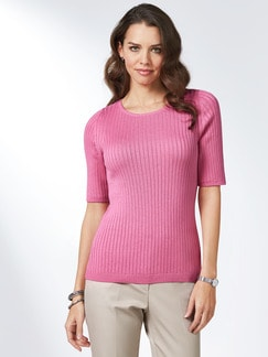 Strickshirt Pima Cotton Uni Pink Detail 1