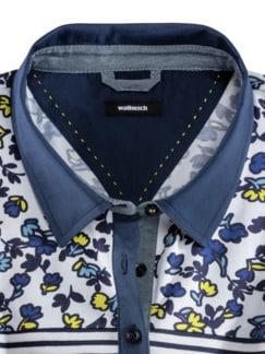 Blusenpolo Deauville Blumen-Ringel Blau/Gelb Detail 3