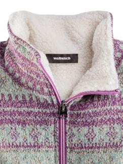 Thermo Strickfleece-Jacke Norwegermuster Detail 3