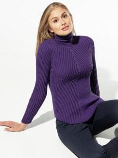 Rollkragen-Pullover Diagonalrippe Violett Detail 1
