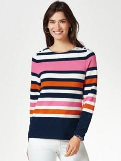 Struktur-Sweatshirt Marine/Mandarine/Pink gestr. Detail 1