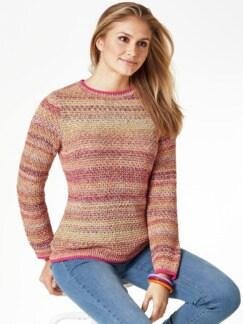 Multicolor-Pullover Wabenstrick Pink gemustert Detail 1