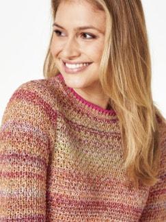 Multicolor-Pullover Wabenstrick Pink gemustert Detail 4