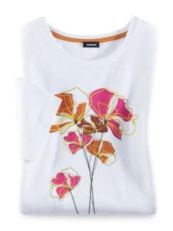 T-Shirt Frühlingsblume Mandarine/Fuchsia Detail 2